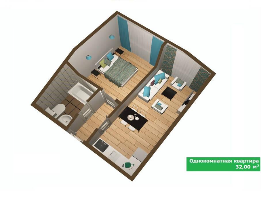 Дизайн проект квартиры 32 кв м