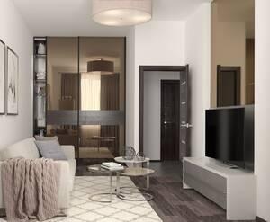 ЖК «Энфилд»: визуализация гостиной(современный стиль)
