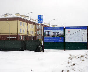 ЖК «Павловский квартал»: информационный щит у въезда на территорию комплекса