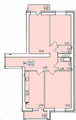 ЖК «Солнечный парус-2», планировка 3-комнатной квартиры, 86.10 м²