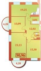 ЖК «Шереметевский Дворец», планировка 4-комнатной квартиры, 90.96 м²