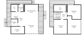 КП «Суходольское», планировка 5-комнатной квартиры, 232.40 м²