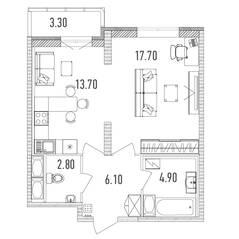 ЖК «Leningrad», планировка 1-комнатной квартиры, 46.90 м²