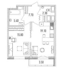 ЖК «Leningrad», планировка 1-комнатной квартиры, 52.10 м²