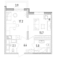 ЖК «Leningrad», планировка 1-комнатной квартиры, 47.60 м²
