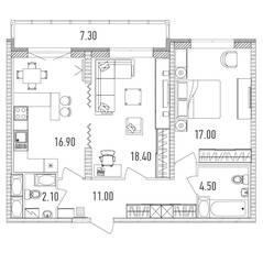 ЖК «Leningrad», планировка 2-комнатной квартиры, 73.60 м²