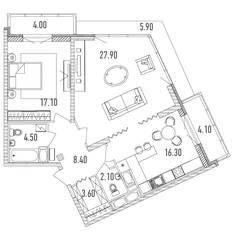 ЖК «Leningrad», планировка 2-комнатной квартиры, 84.10 м²