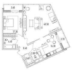 ЖК «Leningrad», планировка 2-комнатной квартиры, 96.20 м²