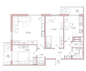 ЖК «Белый сад», планировка 3-комнатной квартиры, 83.17 м²