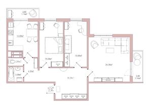 ЖК «Белый сад», планировка 3-комнатной квартиры, 92.75 м²