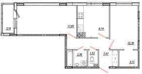 МЖК «Луговое», планировка 2-комнатной квартиры, 57.34 м²