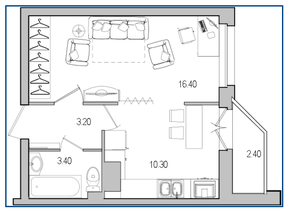 ЖК «Поэт», планировка 1-комнатной квартиры, 34.20 м²
