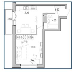 ЖК «Поэт», планировка 1-комнатной квартиры, 40.90 м²