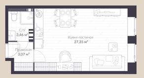МЖК «Veren Village стрельна», планировка студии, 33.90 м²