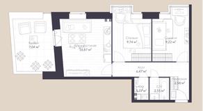 МЖК «Veren Village стрельна», планировка 2-комнатной квартиры, 51.30 м²