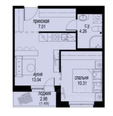 ЖК «ID Кудрово», планировка 1-комнатной квартиры, 36.11 м²