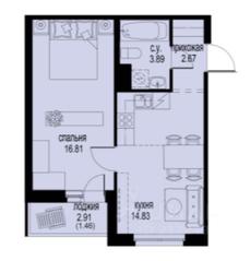 ЖК «ID Кудрово», планировка 1-комнатной квартиры, 39.66 м²