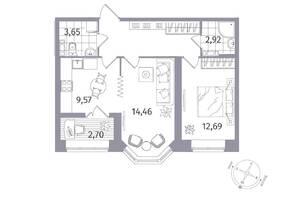 ЖК «Новое Купчино», планировка 2-комнатной квартиры, 55.00 м²