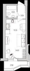 ЖК «Лондон Парк», планировка студии, 27.87 м²