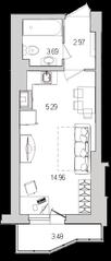 ЖК «Лондон Парк», планировка студии, 27.95 м²
