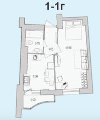ЖК «Лондон Парк», планировка 1-комнатной квартиры, 36.04 м²