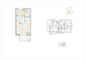 ЖК «Tarmo», планировка студии, 26.70 м²