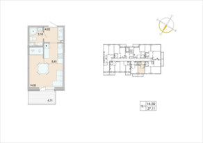 ЖК «Tarmo», планировка студии, 27.11 м²