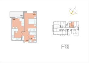 ЖК «Tarmo», планировка 1-комнатной квартиры, 41.78 м²