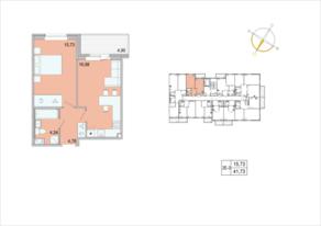 ЖК «Tarmo», планировка 1-комнатной квартиры, 41.73 м²