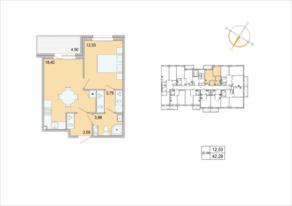 ЖК «Tarmo», планировка 1-комнатной квартиры, 42.29 м²