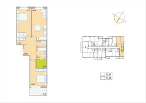 ЖК «Tarmo», планировка 2-комнатной квартиры, 71.36 м²