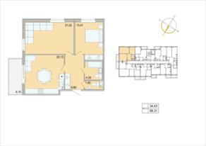 ЖК «Tarmo», планировка 2-комнатной квартиры, 69.31 м²