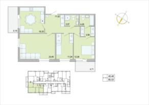 ЖК «Tarmo», планировка 3-комнатной квартиры, 85.53 м²