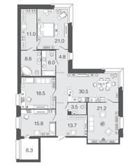 ЖК «Futurist», планировка 4-комнатной квартиры, 154.80 м²