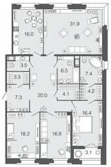 ЖК «Futurist», планировка 4-комнатной квартиры, 155.60 м²