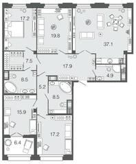 ЖК «Futurist», планировка 4-комнатной квартиры, 159.70 м²