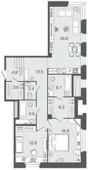 ЖК «Futurist», планировка 2-комнатной квартиры, 94.60 м²