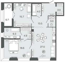 ЖК «Futurist», планировка 2-комнатной квартиры, 96.00 м²