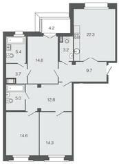 ЖК «Futurist», планировка 3-комнатной квартиры, 105.60 м²