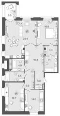 ЖК «Futurist», планировка 3-комнатной квартиры, 134.10 м²