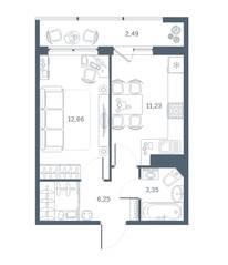 ЖК «Геометрия» (Кудрово), планировка 1-комнатной квартиры, 35.83 м²
