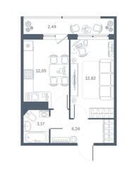 ЖК «Геометрия» (Кудрово), планировка 1-комнатной квартиры, 35.88 м²