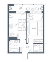 ЖК «Геометрия» (Кудрово), планировка 1-комнатной квартиры, 35.92 м²