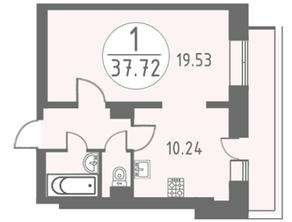 ЖК «Огни Колпино», планировка 1-комнатной квартиры, 37.72 м²