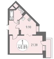 ЖК «Огни Колпино», планировка 1-комнатной квартиры, 40.89 м²