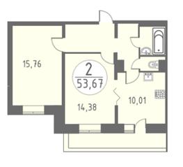 ЖК «Огни Колпино», планировка 2-комнатной квартиры, 53.67 м²