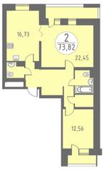 ЖК «Огни Колпино», планировка 2-комнатной квартиры, 73.82 м²