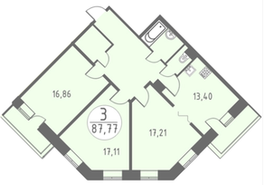 ЖК «Огни Колпино», планировка 3-комнатной квартиры, 87.77 м²