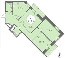 ЖК «Огни Колпино», планировка 3-комнатной квартиры, 91.45 м²