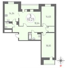 ЖК «Огни Колпино», планировка 3-комнатной квартиры, 93.27 м²